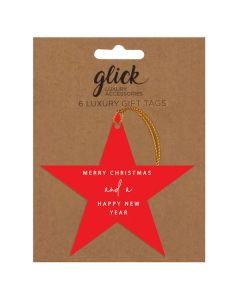 Gift tags - Red Star pack of 6 tags
