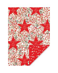Red Foil Star Christmas Wrapping Paper