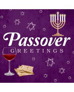 Passover Greetings - icons on purple