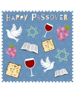 Passover card - Passover icons on blue
