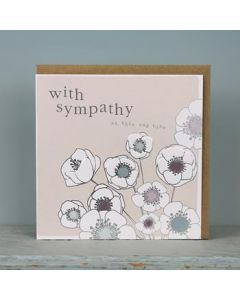With Sympathy at this sad time - white flowers