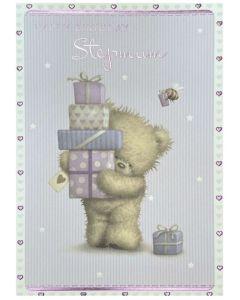 Stepmum card - Teddy bear carrying gifts