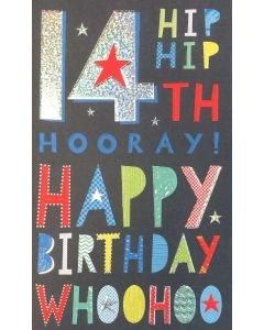 AGE 14 Card - Hip Hip Hooray!