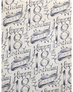Folded Wrapping Paper - 18th Birthday