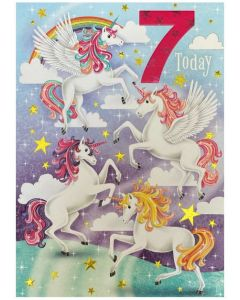 AGE 7 Card - Colourful Unicorns