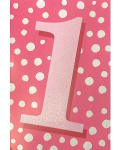 AGE 1- Sparkly '1' on spots pink