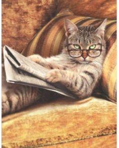 Birthday Card - Cat Reading Newspaper