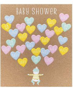 Baby Shower - 'Baby Love Hugs xoxo' in hearts