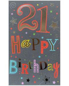 21st Birthday - Bright greeting & stars