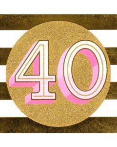 40th Birthday - Gold Glitter Circle