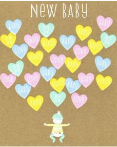 New BABY Card - Heart Messages