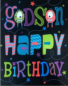 Godson Birthday - Bright Words on Black