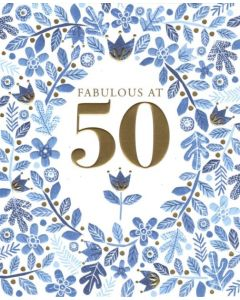 50th Birthday - Blue Flowers