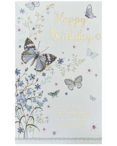 Birthday Card - Butterflies & Bluebells
