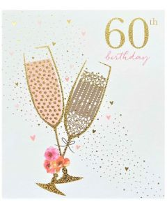 AGE 60 Card - Champagne Flutes
