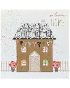 Welcome Home - House with flower pots & picket fence