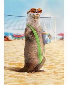 Birthday card - Meerkat on beach