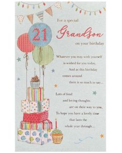 Grandson 21st - Gifts stack & balloons