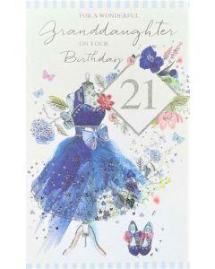 GRANDDAUGHTER AGE 21 Card - Blue Dress