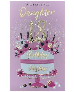 Daughter Age 18 - Cake & candles on pink