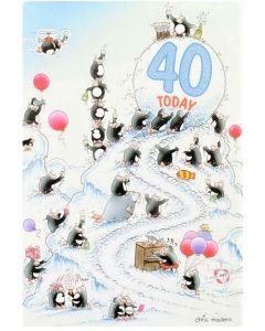 AGE 40 Card - Penguins Celebrating
