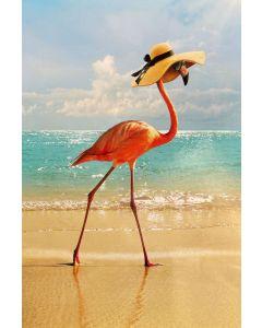 Birthday card - Flamingo in hat on beach