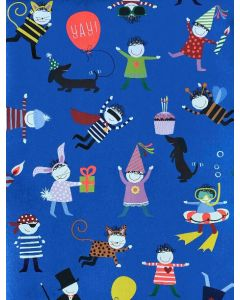 Wrapping paper - Cute birthday party people