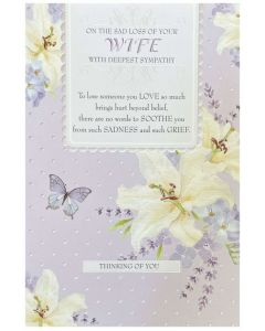 Loss of Wife Sympathy - Flowers on mauve