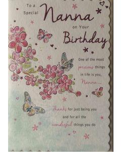 Nanna Birthday - Pink flowers & butterflies