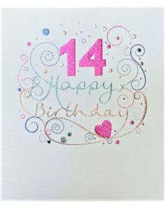AGE 14 Card - Foil Swirls & Heart