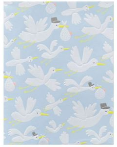 Folded Wrapping Paper - Storks On Blue