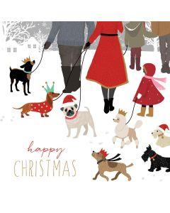 Christmas card - Christmas dog walking