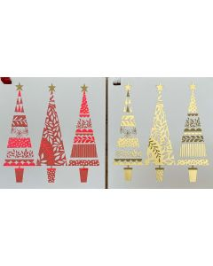 Christmas Gift cards - Gold trees, Red trees (10 pack)