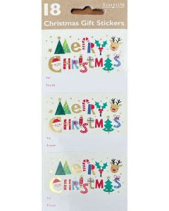 Christmas gift labels - Bright Merry Christmas (18 pack)