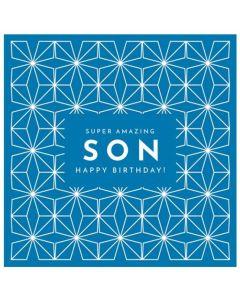 SON Birthday - Geometric pattern on blue