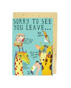 'Sorry to see you leave...' animals BIG card