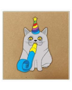 Cat with party hat & blower