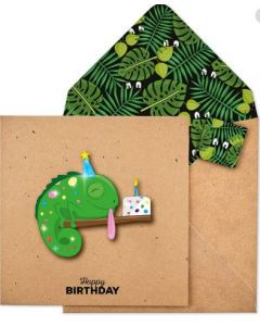 Birthday Card - Green Chameleon