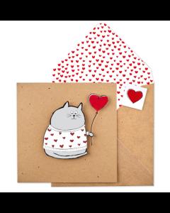 Heart Jumper & Balloon Cat Card