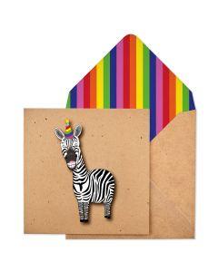 Birthday Card - Party Zebra