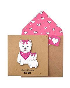 MUMMY Card - White Dog & Puppy