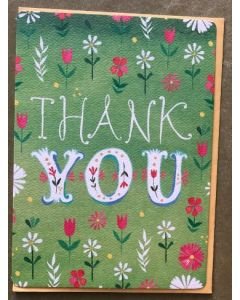 Thank You - Flowers on green