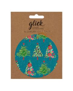 Gift tags Trees on green - pack of 6 tags