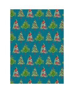 Christmas trees on green wrapping paper