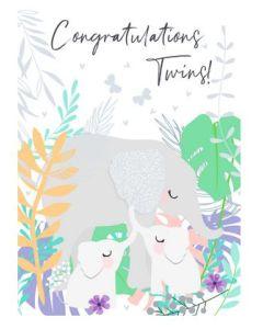 Twins Congratulations - Cute elephants