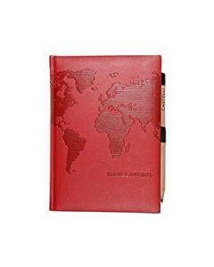 World Map Pearlescent Red Travel Journal