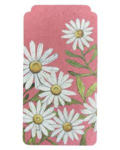 White daisies on pink gift tag