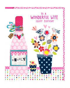 'To a Wonderful Wife Happy Birthday' Card
