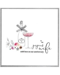Wife Anniversary - Champagne, flowers & gems