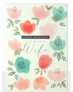Wife Birthday - Embossed pastel flowers